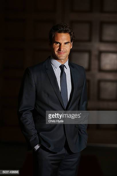 Roger Federer talks arrives for the Summer Nights player party at Brisbane City Hall ahead of the 2016 Brisbane International on January 2 2016 in...