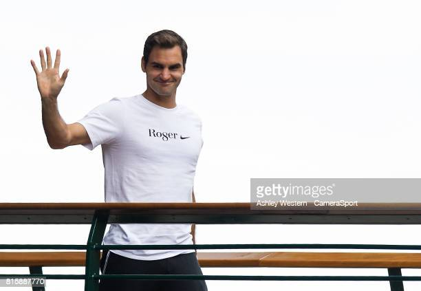 Roger Federer wearing his TShirt where the 'g' is turned into an 8 signalling his 8th Wimbledon victory at Wimbledon on July 16 2017 in London England