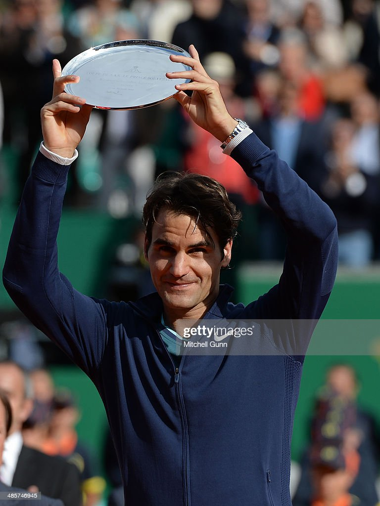 <a gi-track='captionPersonalityLinkClicked' href=/galleries/search?phrase=Roger+Federer&family=editorial&specificpeople=157480 ng-click='$event.stopPropagation()'>Roger Federer</a>of Switzerland poses with the second place trophy after losing to Stanislas Wawrinka of Switzerland in their final match on day eight of the ATP Monte Carlo Masters, at the Monte-Carlo Country Club on April 20, 2014 in Monte-Carlo, Monaco.