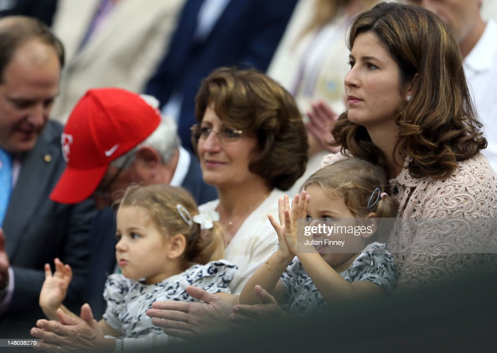 Roger Federer's dad Roger Federer, mom : Lynette Federer wife Miroslava Vavrinec and daughters Myla Rose and Charlene Riva celebrate after Roger he won his Gentlemen's Singles final match against Andy Murray of Great Britain on day thirteen of the Wimbledon Lawn Tennis Championships at the All England Lawn Tennis and Croquet Club on July 8, 2012 in London, England.
