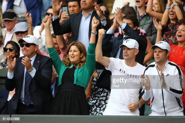 Roger Federer's wife Mirka and his team celebrate his victory after his Gentlemen's Singles semi final match against Tomas Berdych of The Czech...