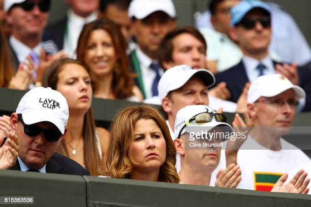 Roger Federer's wife Mirka looks on during the Gentlemen's Singles final against Marin Cilic of Croatia on day thirteen of the Wimbledon Lawn Tennis...
