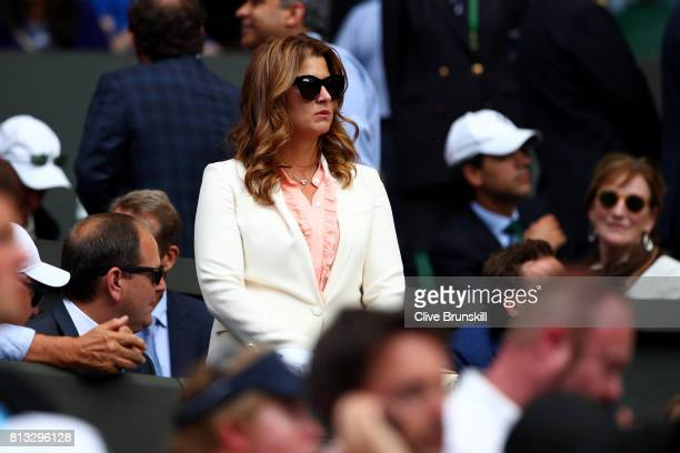 Roger Federer's wife Mirka looks on prior to his Gentlemen's Singles quarter final match against Milos Raonic of Canada on day nine of the Wimbledon...