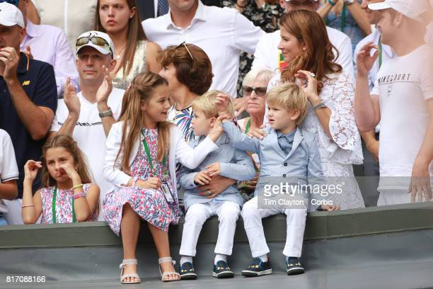 Roger Federer's wife Mirka Federer and their four children identical twin daughters Myla and Charlene and identical 3yearold twin sons Leo and Lenny...