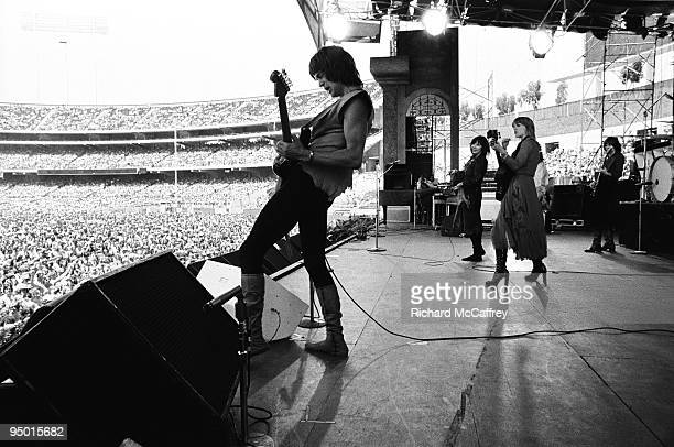 Roger Fisher Ann Wilson Nancy Wilson and Steve Fossen of Heart perform live at The Oakland Coliseum in 1977 in Oakland California