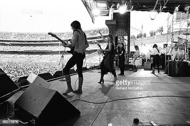 Roger Fisher Nancy and Ann Wilson Howard Leese and Steve Fossen of Heart perform live at The Oakland Coliseum in 1977 in Oakland California