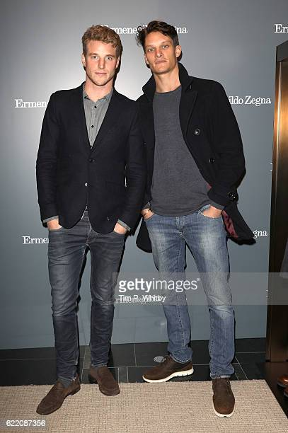 Roger Frampton and Danny Beauchamp attend the opening of Ermenegildo Zegna new boutique in London at Ermenegildo Zegna Boutique on November 9 2016 in...