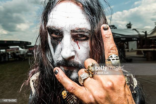 Roger from Sweden a craftsman by day attends the Wacken Open Air heavy metal music fest on August 3 2012 in Wacken Germany Approximately 75000 heavy...