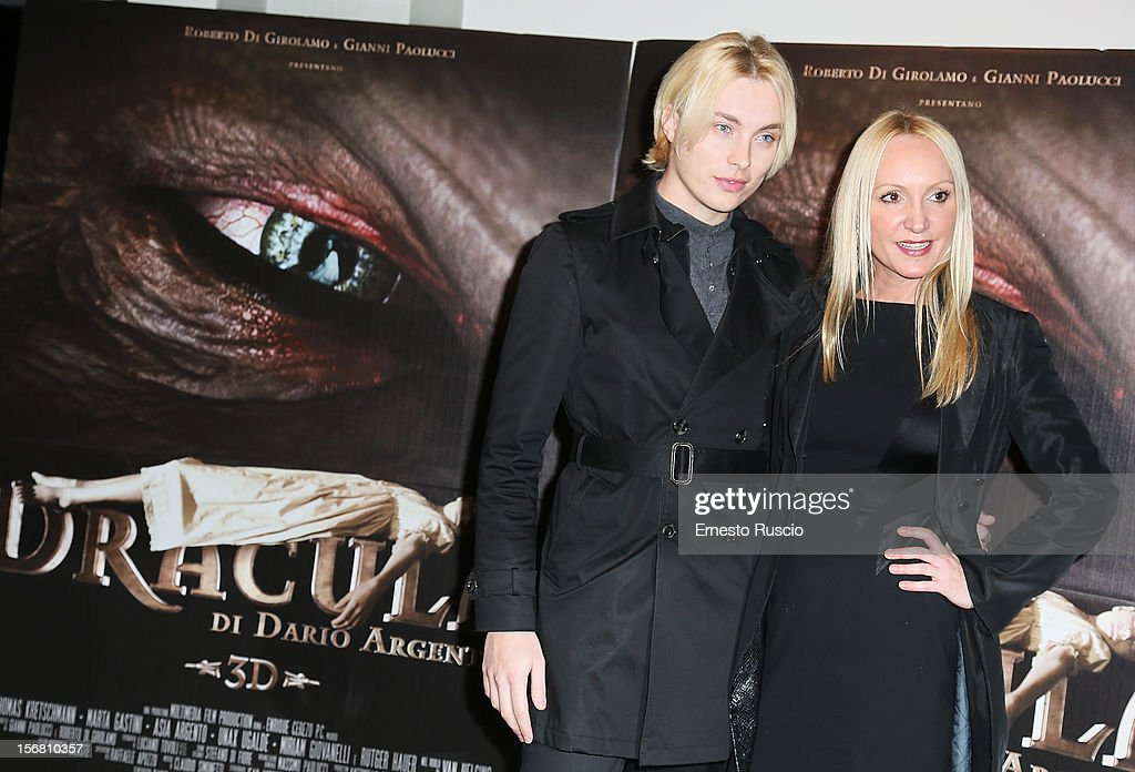 Roger Garth and Fiore Argento attend the 'Dracula in 3D' premiere at Cinema Barberini on November 21, 2012 in Rome, Italy.