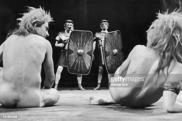 Roger Gartland and Greg Hicks as Marban in a scene from Howard Brenton's play 'The Romans In Britain' directed by Michael Bogdanov at the Olivier...