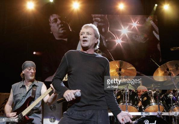 Roger Glover and Ian Gillan of Deep Purple perform on stage at the Tommy Vance Tribute night on the fifth night of a series of concerts and events in...