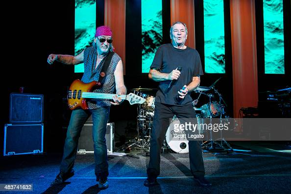 Roger Glover and Ian Gillan of Deep Purple performs at Freedom Hill Amphitheater on August 4 2015 in Sterling Heights Michigan