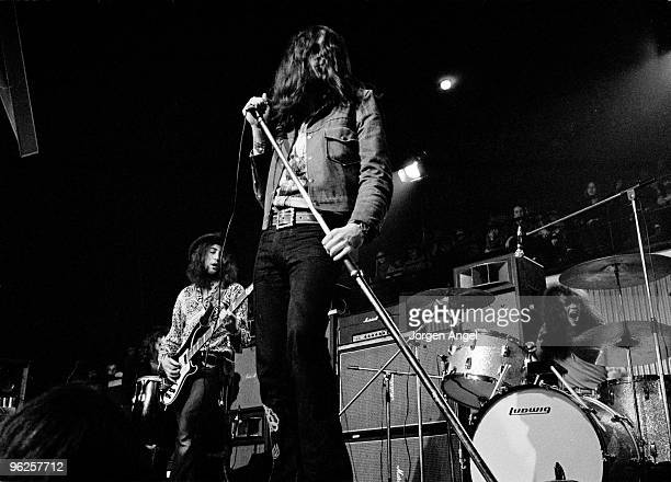 Roger Glover Ian Gillan and Ian Paice of Deep Purple perform on stage at KB Hallen on March 1st 1972 in Copenhagen Denmark