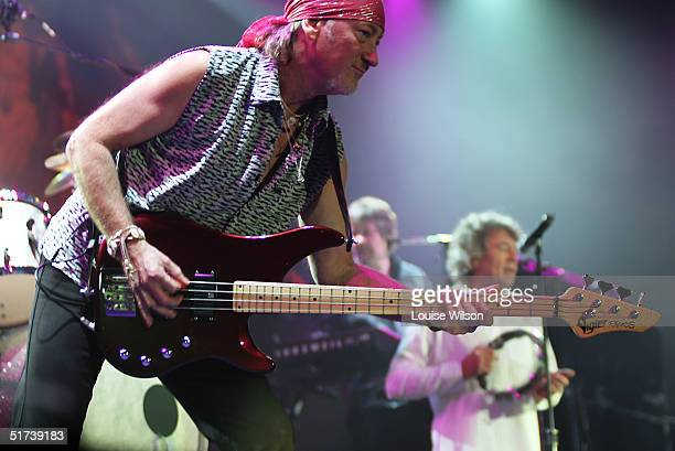 Roger Glover Ian Gillan of band Deep Purple perform on stage as part of the British rock tripleheadline UK concert series' London stop at Wembley...