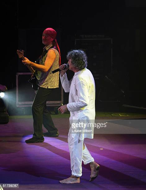 Roger Glover Ian Gillan of the band Deep Purple perform on stage as part of the British rock tripleheadline UK concert series' London stop at Wembley...