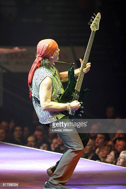 Roger Glover of band Deep Purple performs on stage as part of the British rock tripleheadline UK concert series' London stop at Wembley Arena on...