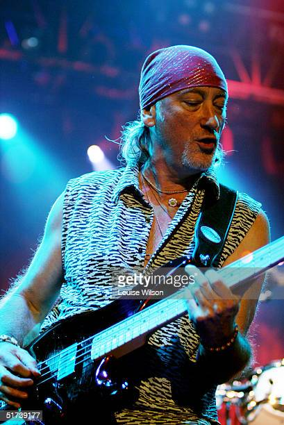 Roger Glover of the band Deep Purple performs on stage as part of the British rock tripleheadline UK concert series' London stop at Wembley Arena on...