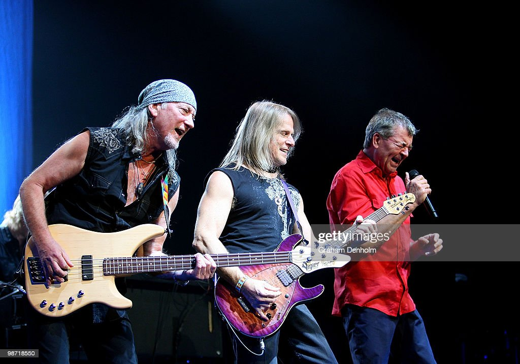 Roger Glover, Steve Morse and Ian Gillan of Deep Purple perform on stage during their concert at the Sydney Entertainment Centre on April 28, 2010 in Sydney, Australia.