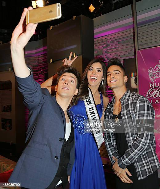 Roger Gonzalez Paulina Vega and Maluma poses backstage on the set of 'Nuestra Belleza Latina' at Univision Studios on February 8 2015 in Miami Florida