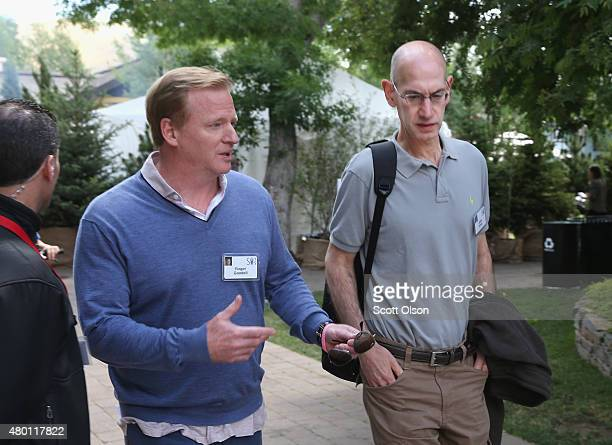 Roger Goodell commissioner of the National Football League and Adam Silver Commissioner of the National Basketball Association attend the Allen...