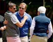 Roger Goodell Commissioner of the National Football League hugs Casey Wasserman entertainment executive sports agent executive and owner of the...