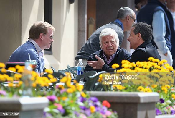 Roger Goodell commissioner of the National Football League Robert Kraft owner of the New Englad Patriots and Robert Iger chief executive officer of...