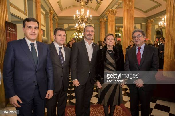 Roger Guasch Jaume Collboni Carme Forcadell and Enric Millo attend the Gran Teatre del Liceu 20th Anniversary Celebration on February 6 2017 in...