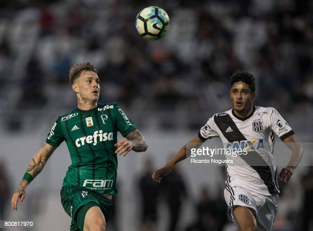 Roger Guedes of Palmeiras battles for the ball with FLeo Arthur of Ponte Preta during the match between Ponte Preta and Palmeiras as a part of...