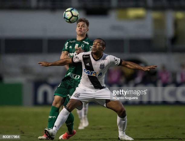 Roger Guedes of Palmeiras battles for the ball with Rodrigo of Ponte Preta during the match between Ponte Preta and Palmeiras as a part of Campeonato...