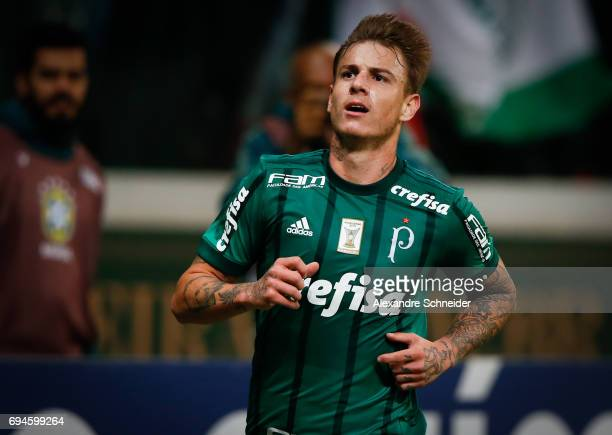 Roger Guedes of Palmeiras celebrates after scoring their thirth goal during the match between Palmeiras and Fluminense for the Brasileirao Series A...