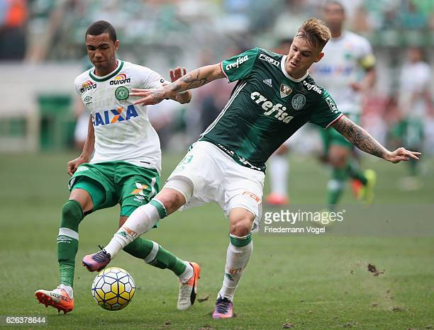 Roger Guedes of Palmeiras fights for the ball with Tiaguinho of Chapecoense during the match between Palmeiras and Chapecoense for the Brazilian...
