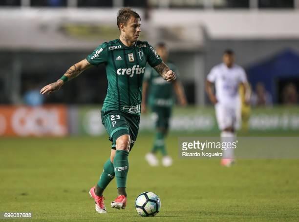 Roger Guedes of Palmeiras in action during a match between Santos and Palmeiras as a part of Campeonato Brasileiro 2017 at Vila Belmiro Stadium on...
