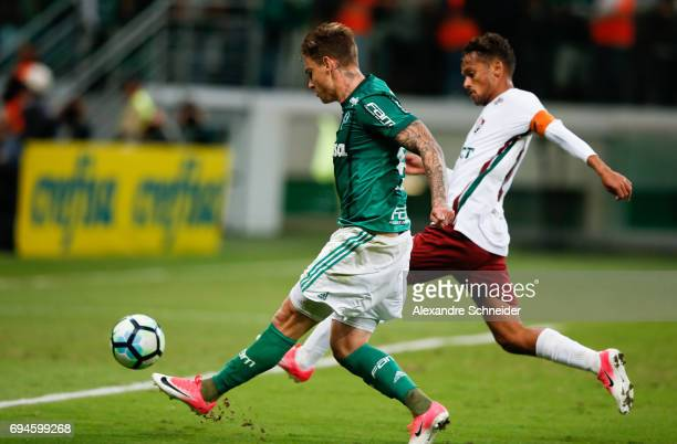 Roger Guedes of Palmeiras scores their thirth goal during the match between Palmeiras and Fluminense for the Brasileirao Series A 2017 at Allianz...