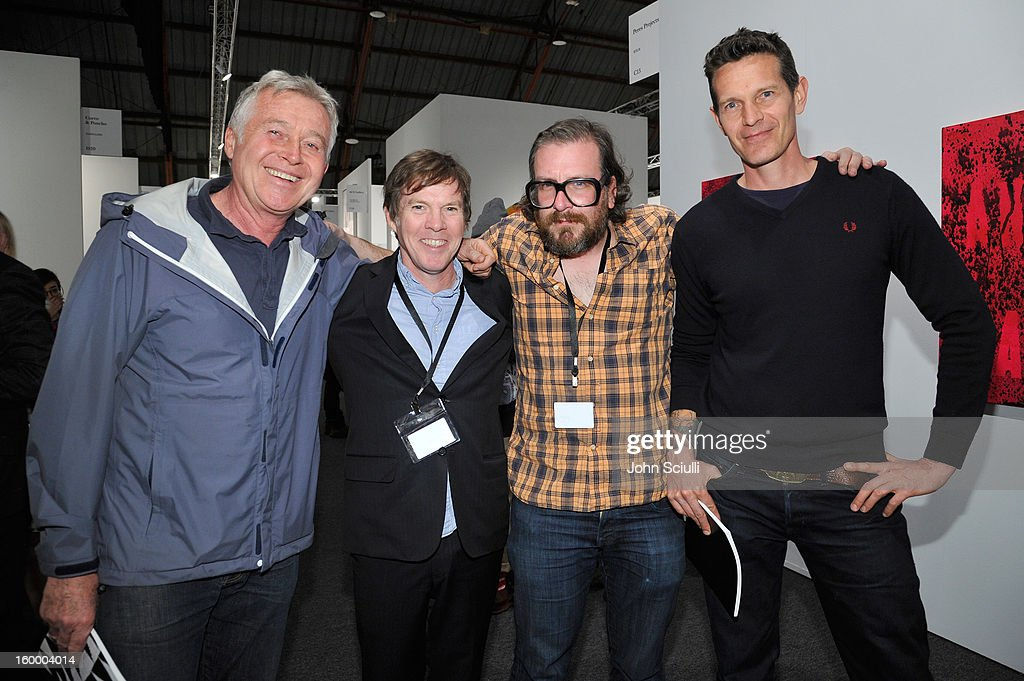 Roger Herman, Steve Hanson, Jon Pylypchuk and Cyril Kuhn attend Art Los Angeles Contemporary opening night at Barker Hangar on January 24, 2013 in Santa Monica, California.