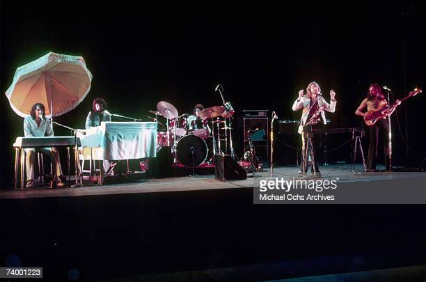 Roger Hodgson Rick Davies Bob C Benberg John A Helliwell and Dougie Thomson of the rock band 'Supertramp' perform onstage in May 1975