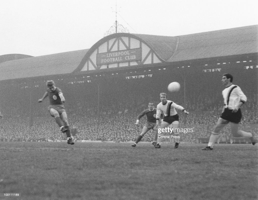 Roger Hunt (left) of Liverpool scores his team's first goal during the European Cup semi-final, first leg against Inter-Milan at Anfield, 5th May 1965. Liverpool won the match 3-1.