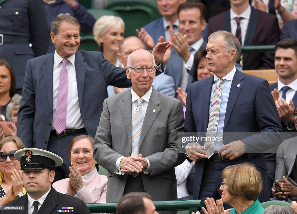Roger Hunt, Sir Bobby Charlton and Sir Geoff Hurst attend day six of the Wimbledon Tennis Championships at Wimbledon on July 02, 2016 in London, England.