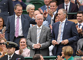 Roger Hunt Sir Bobby Charlton and Sir Geoff Hurst attend day six of the Wimbledon Tennis Championships at Wimbledon on July 02 2016 in London England