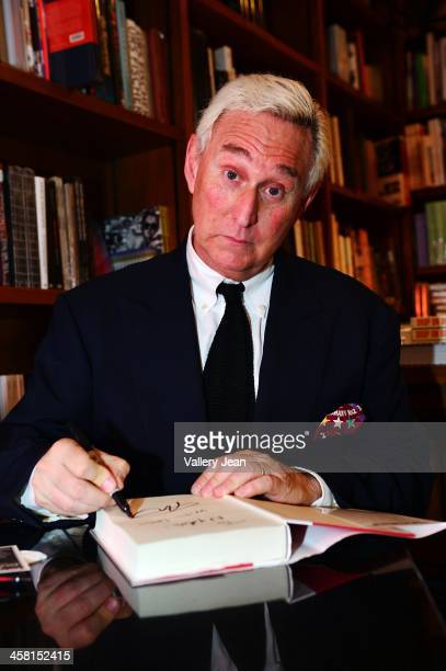 Roger J Stone Jr discusses and signs copies of his book 'The Man Who Killed Kennedy The Case Against LBJ' at Books and Books on December 9 2013 in...