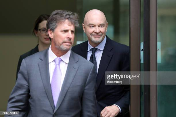 Roger Jenkins former chairman of investment banking for the Middle East at Barclays Plc right departs Westminster Magistrates' Court in London UK on...
