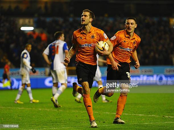 Roger Johnson of Wolves celebrates the equalising goal during the npower Championship match between Wolverhampton Wanderers and Blackburn Rovers at...