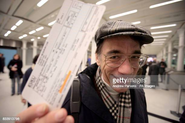 Roger Kemp from north London the first passenger aboard the first Eurostar train to depart from London Waterloo at 823am on November 14 and the first...