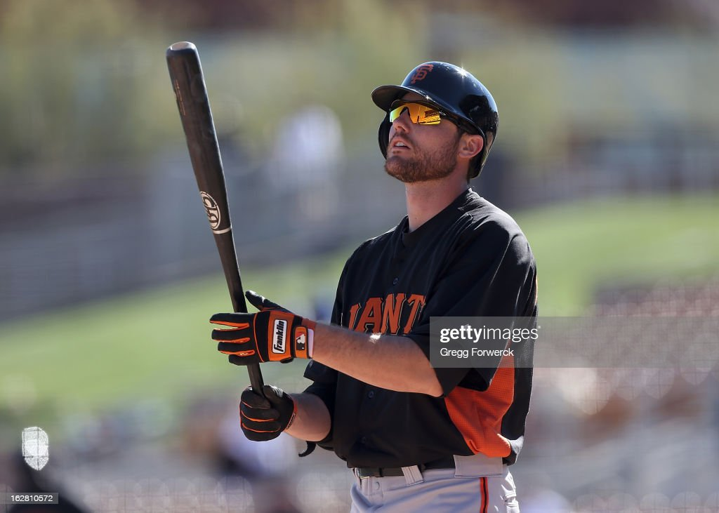 Roger Kieschnick of the San Francisco Giants bats during a spring training baseball game against the Los angeles Dodgers at Camelback Ranch on February 26, 2013 in Glendale, Arizona.