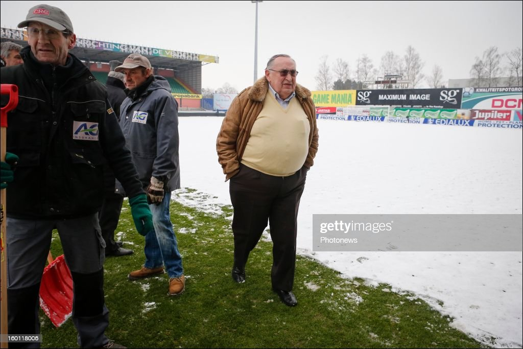 Roger Lambrecht pictured at the Daknam stadium covered in snow before the Jupiler League match between Sporting Lokeren and RSC Anderlecht on January 26, 2013 in Lokeren, Belgium. Photo by Jan De Meuleneir/Photonews via Getty Images)