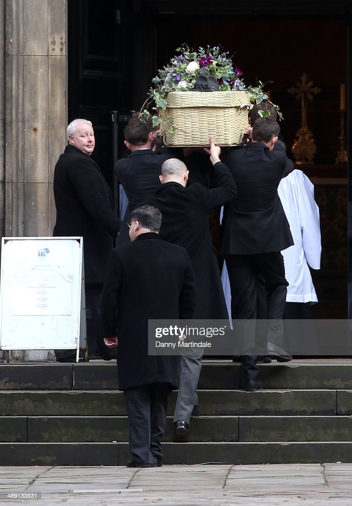 Roger Lloyd-Pack coffin's is carried into St Paul's Church for his funeral at St Paul's Church on February 13, 2014 in London, England.