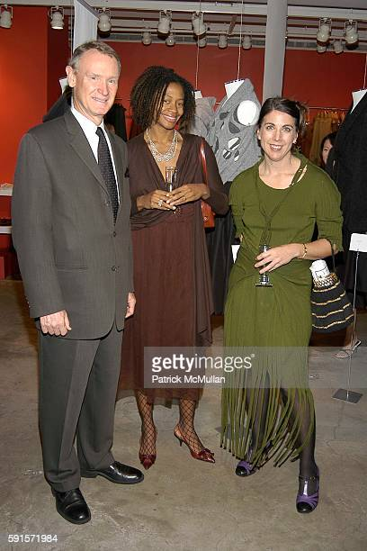 Roger Mandle Kara Walker and Liz Collins attend RISD and DKNY Launch OneOfAKind Cashmere Line at DKNY Madison Avenue on November 15 2005 in New York...