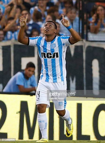 Roger Martinez of Racing Club celebrates after scoring the first goal of his team during a fifth round match between Racing Club and Boca Juniors as...