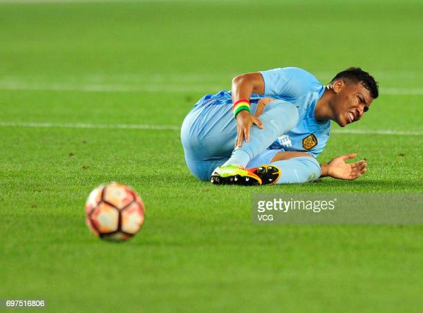 Roger Martnez of Jiangsu Suning lies on the ground during the 13th round match of 2017 Chinese Football Association Super League between Jiangsu...