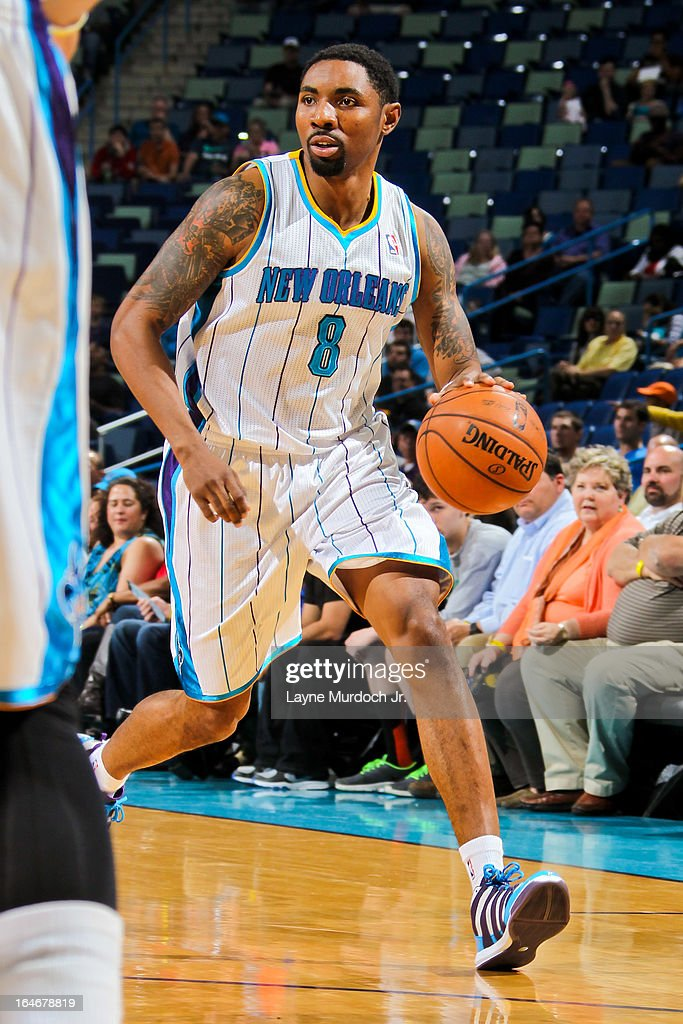 <a gi-track='captionPersonalityLinkClicked' href=/galleries/search?phrase=Roger+Mason+Jr.&family=editorial&specificpeople=220399 ng-click='$event.stopPropagation()'>Roger Mason Jr.</a> #8 of the New Orleans Hornets advances the ball against the Golden State Warriors on March 18, 2013 at the New Orleans Arena in New Orleans, Louisiana.