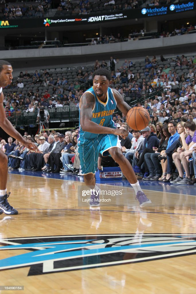 <a gi-track='captionPersonalityLinkClicked' href=/galleries/search?phrase=Roger+Mason+Jr.&family=editorial&specificpeople=220399 ng-click='$event.stopPropagation()'>Roger Mason Jr.</a> #8 of the New Orleans Hornets drives during the game between the New Orleans Hornets and the Dallas Mavericks on October 22, 2012 at the American Airlines Center in Dallas, Texas.